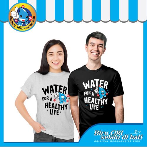 Foto Produk Baju Kaos T-Shirt Distro Healthy Life Fashion Wanita Pria - Biru Ori - Putih dari Air Minum Biru