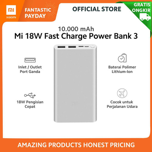 Foto Produk Xiaomi Mi PowerBank Xiaomi 10000mAh 18W Power Bank 3 Fast Charging dari Xiaomi Official Store