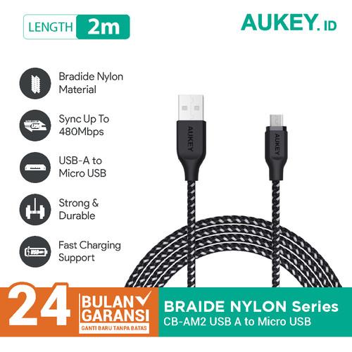 Foto Produk Aukey Cable 2M Micro High Performance Braided Black - 500296 dari AUKEY