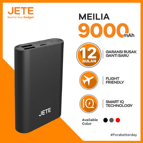 Foto Produk Powerbank JETE MEILIA 9000 mAh Fast Charging Garansi 1 Tahun - Hitam dari JETE Official Surabaya