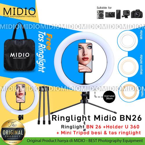 Foto Produk Ring Light BN26 Midio Untuk Live Streaming Vlogger Video LED dari Midio