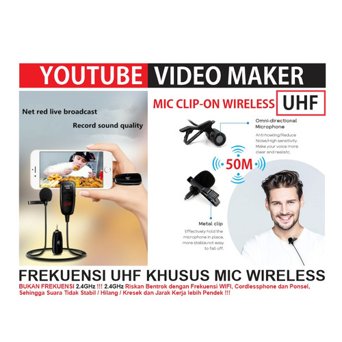 Foto Produk Microphone Mic Clip-On Wireless - PRANK VLOG untuk Smartphone - DSLR dari EtalaseBelanja