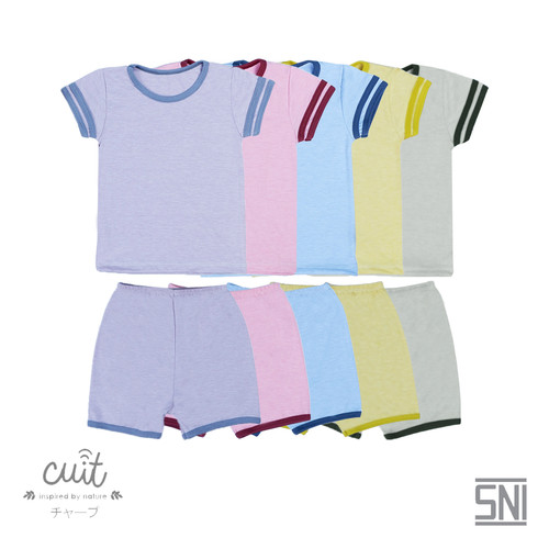 Foto Produk CUIT Setelan Anak Baju Tangan Pendek - Celana Pendek Natsu Series - Lilac Dream, S dari Cuit Baby Wear