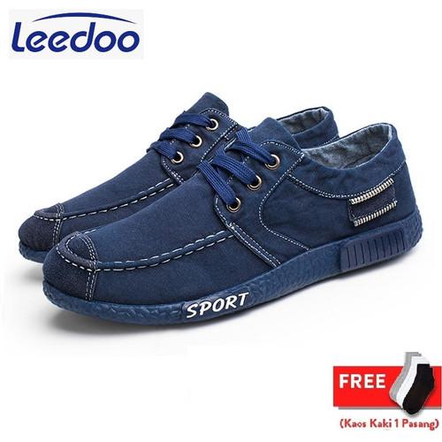 Foto Produk Leedoo Sepatu Pria Sport Korea Sepatu Kasual kanvas Kerja Santai J11 - 44 dari Leedoo