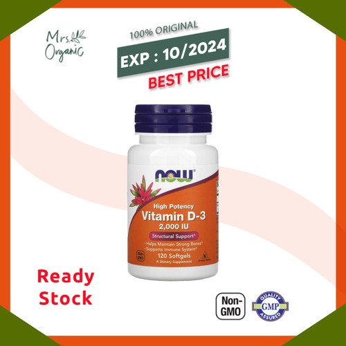 Foto Produk Now Foods, Vitamin D-3 High Potency , 2,000 IU, 120 Softgels dari Mrs Organic