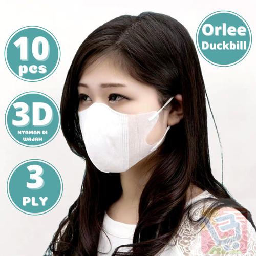 Foto Produk Masker Duckbill 3D Orlee 3 Ply 3Ply Earloop Medis Kemenkes isi 10 pcs - Putih dari lbagstore