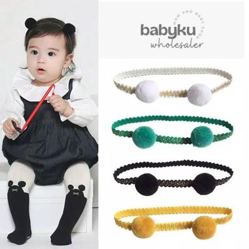 Foto Produk bandana bayi / baby headband pom pom / bando bayi karet - pompom white dari BABYKU WHOLESALER