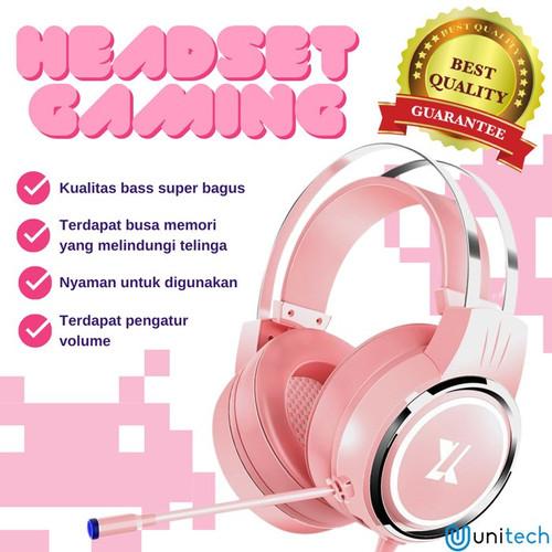 Foto Produk Unitech Headset Headphone Gaming X8 Pink Surround Sound - Hitam - Hitam dari TokoUsbcom