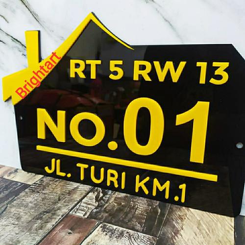 Foto Produk Nomor rumah akrilik Series-2 Ukuran 30x20, Plat rumah akrilik - Kuning, polos dari KencanaGrafikaMandiri