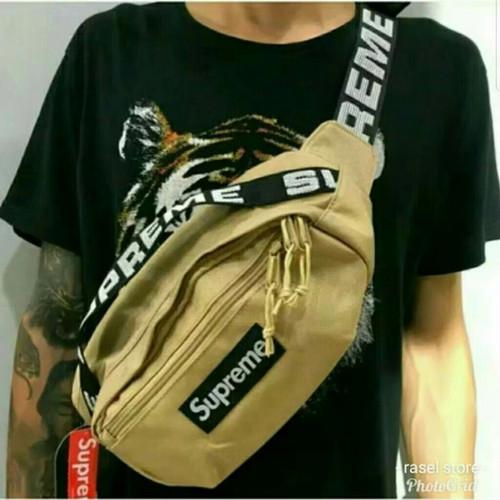Foto Produk waistbag supreme tas pinggang cewek cowok waist bag supreme - khaki dari dream_shop_99
