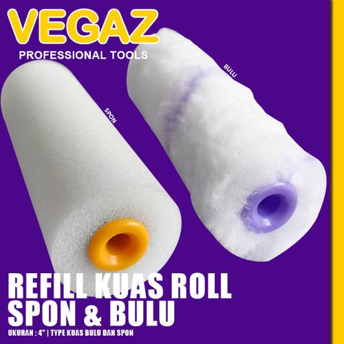 "Foto Produk VEGAZ - Refil Kuas Roll Kapal 4"" Isi Ulang Kuas Roll Epoxy Bulu&Spon dari Vegaz-Tools"
