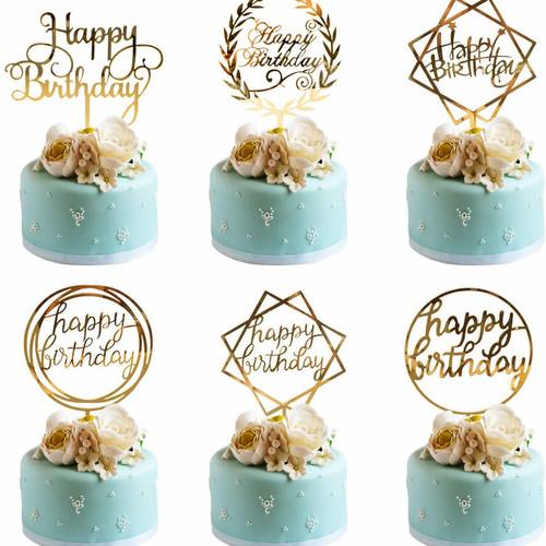Foto Produk Cake Topper Happy Birthday / Tusukan Hiasan Kue Acrylic Happy Birthday dari Berlianparty