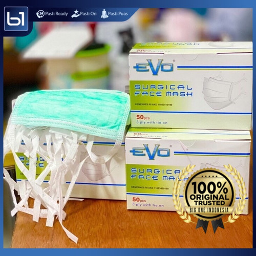 Foto Produk Masker Evo HIJAB TIE ON Surgical Mask, Masker Medis Evo, Masker 3ply dari BigOneIndo