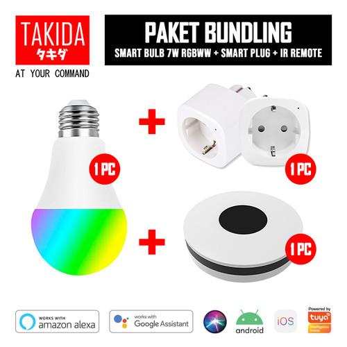 Foto Produk TAKIDA Bundle Promo - Smart Plug + Smart Bulb 7W RGBWW + IR Remote dari TAKIDA Smart Home