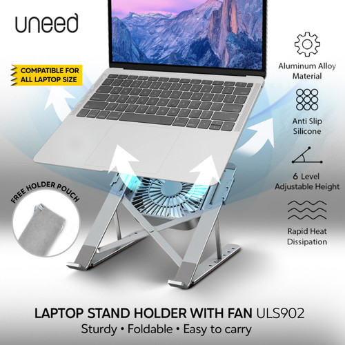 Foto Produk UNEED Laptop Stand Holder with Cooling Fan Aluminium Alloy - ULS902 dari Uneed Indonesia