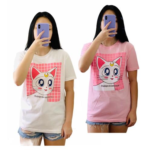 Foto Produk Kaos atasan ABG / dewasa perempuan allsize LD 94 x 67 Cat Luna - Merah Muda, All Size dari JJC SHOP88