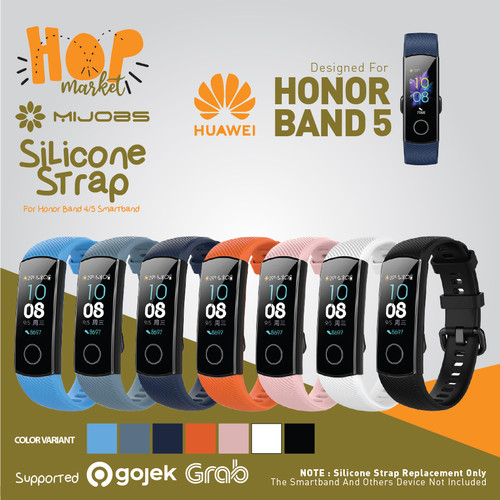 Foto Produk SIKAI Silikon Strap Tali Rubber Silicone for Huawei Honor Band 5 / 4 - STONE BLUE dari HOP Market