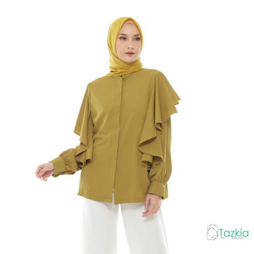 Foto Produk Atasan Muslim Wanita | Calista Blouse Olive | S M L XL | Tazkia Hijab - M dari Tazkia Hijab Store