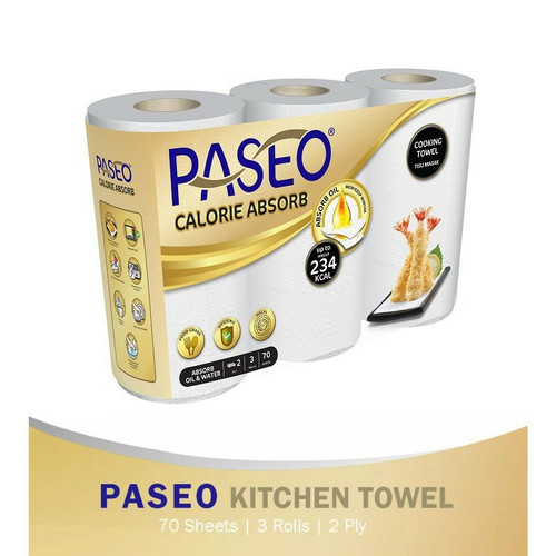 Foto Produk Paseo Calorie Absorb Cooking Towel 2ply 3rolls 70sheets dari cubeecubee