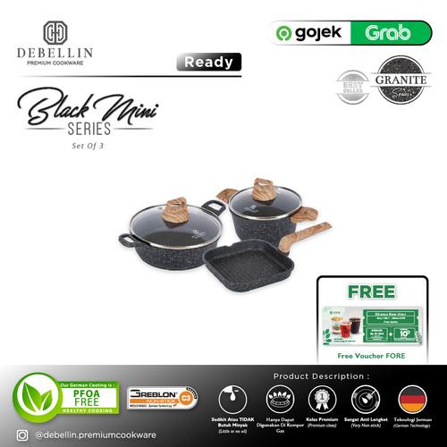 Foto Produk Debellin Premium Cookware Set - Black Mini Series Of 3 Granite dari Debellin Cookware