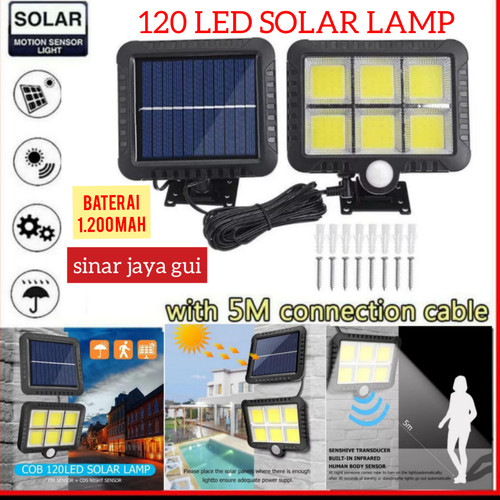 Foto Produk Lampu Taman Solar 120 LED Tenaga Surya Lampu Sorot Sensor Gerak - Baterai1200MAH dari sinar jaya gui