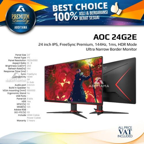 "Foto Produk Monitor LED AOC 24G2E 24"" IPS 1080 144hz 1ms HDMI DP HDR 100x100mm dari Abditama Official"