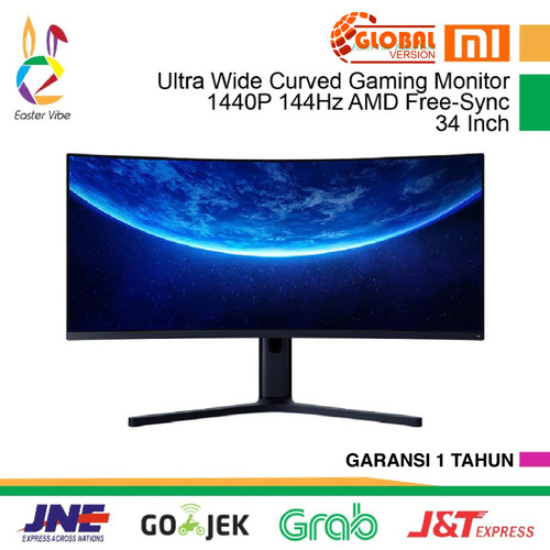 Foto Produk Xiaomi Monitor Gaming Ultra Wide Curved 1440P 144Hz Free-Sync 34 Inch - China Version dari EasterVibe