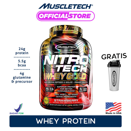 Foto Produk MUSCLETECH NITROTECH 100% WHEY GOLD 5.5 LBS - Strawberry dari Muscletech Official
