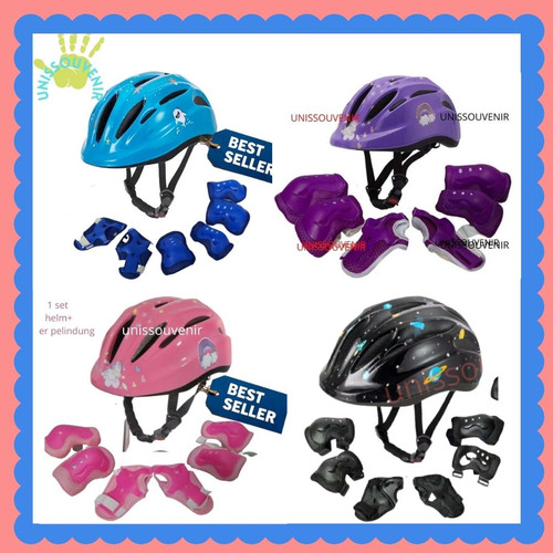 Foto Produk Helm sepeda anak adjustable lengkap deker ungu dari unissouvenir