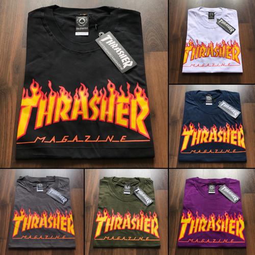 Foto Produk KAOS / BAJU / TSHIRT TRASHER FLAME / TRASHER API HITAM PREMIUM dari Lucifer store Bandung