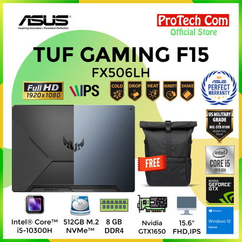 Foto Produk ASUS TUF GAMING F15 FX506LH i5-10300H 8GB 512GB GTX1650 4GB W10 144HZ dari Protech Computer