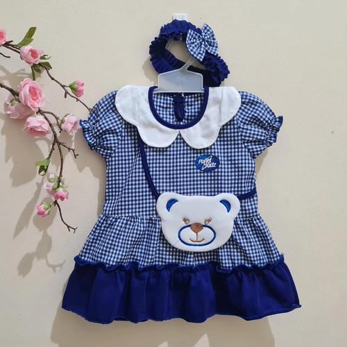 Foto Produk PK0223 - NEW ARRIVAL,Baju Bayi Perempuan 0 - 12 bulan (Free Bandana) - Biru dari Nasya Baby Shop