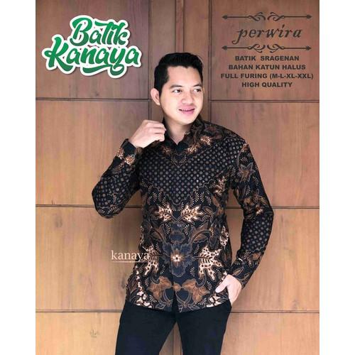 Foto Produk PERWIRA Kemeja Batik Pria Lengan Panjang Lapis Furing Halus - M dari Batik Kanaya Official
