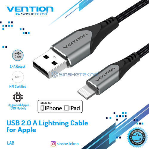 Foto Produk Vention Kabel Data Apple Iphone Lightning MFI Certified Premium Grade - Grey-LAB, 1.5m dari VENTION by SinsheTekno