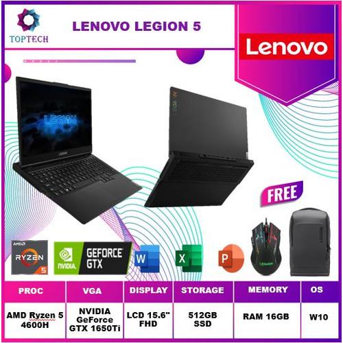 Foto Produk LENOVO LEGION 5 - 120Hz AMD RYZEN 5-4600H 16GB 512GB GTX1650TI 4GB - +ANTIGORES dari Top Tech