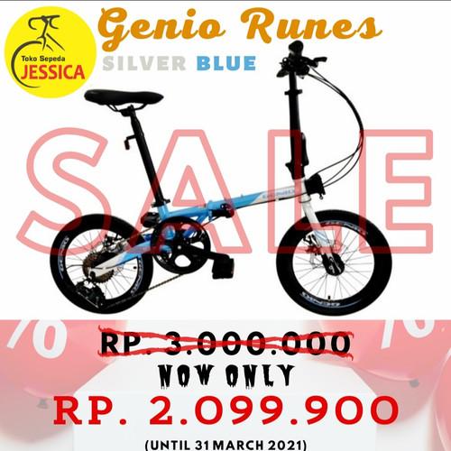 Foto Produk Sepeda Lipat 16 Genio Runes - silver blue, Tidak Dirakit dari Sepeda Jessica