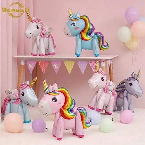 Foto Produk Standing Balloon Kuda Pony / Balon Foil Unicorn 3D Fullbody - BIRU dari Chowping Store
