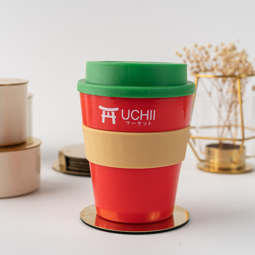 Foto Produk UCHII reusable Coffee Cup Silicone Handle Lid Gelas Mug Kopi Green Red dari uchii store