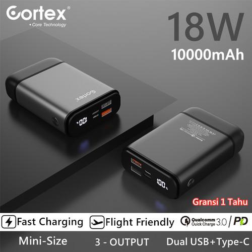 Foto Produk Cortex 10000mAh 18W Super Fast Charging mini Powerbank QC3.0+PD3.0 - Hitam dari CONTEX