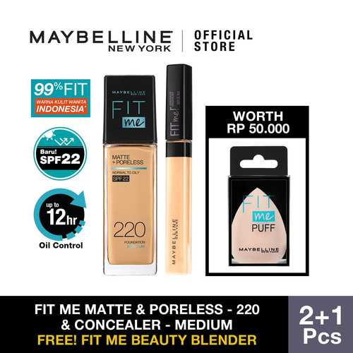 Foto Produk Maybelline Foundation Fit Me Matte Pore +Fit Me Concealer - 220 dan Medium dari Maybelline Official Shop