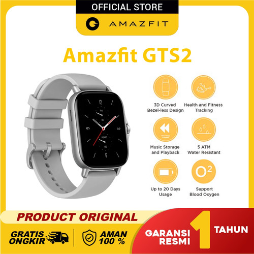 Foto Produk Amazfit GTS 2 Where Style Meets Health Smartwatch Garansi Resmi - Urban Grey dari Amazfit Official