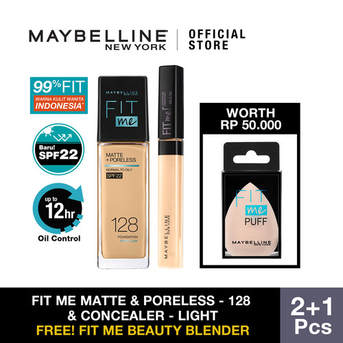 Foto Produk Maybelline Foundation Fit Me Matte Pore +Fit Me Concealer - 128 dan Light dari Maybelline Official Shop