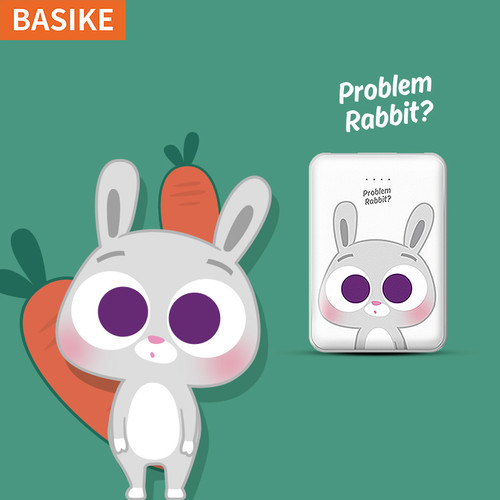 Foto Produk BASIKE PowerBank Dual USB LED Murah Mini 5000mah Fast Charging Korea - PT609-B rabbit dari Basike Official Store