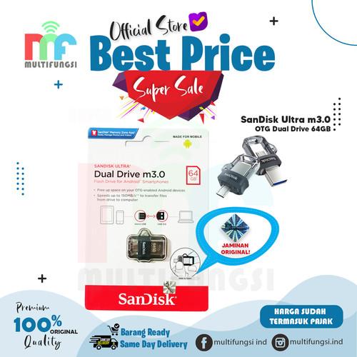 Foto Produk ORIGINAL SANDISK FLASH DISK 64GB OTG DUAL DRIVE m3.0 / 64 GB USB3.0 dari Multifungsi Online