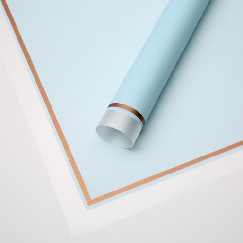 Foto Produk TRANSPARENT GOLD FRAME CELLOPHANE (LEMBARAN) - Kertas Bunga Wrapping - 131 LIGHT BLUE dari Wood chip store