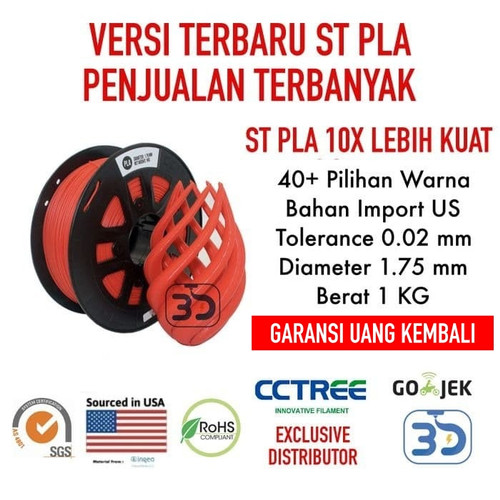 Foto Produk 1.75 mm Tinta 3D Printer Filament - 6 ROLL - Bahan PLA dari 3D Zaiku