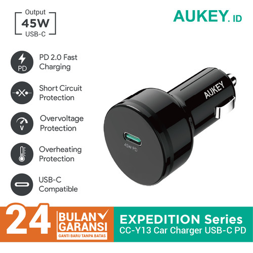 Foto Produk Aukey Car Charger 45W with Power Delivery 2.0 - 500370 dari AUKEY