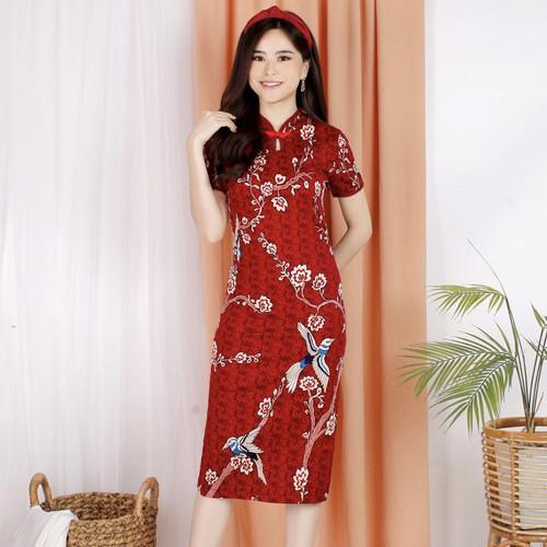 Foto Produk Dress chongsam / gaun cheongsam murah / congsam bunga / dres cheongsam - SPAN - STANDARD dari Pikoi_id