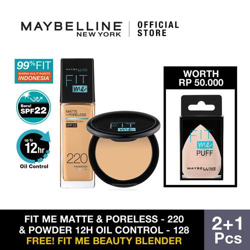 Foto Produk Maybelline Foundation Fit Me Matte 220 + Powder 128 dari Maybelline Official Shop