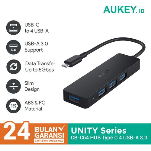 Foto Produk Aukey HUB CB-C64 Unity Slim 4-Port USB 3.0 Hub Type-C - 500580 dari AUKEY
